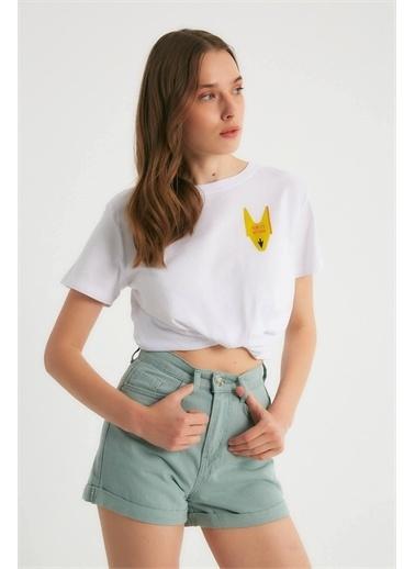 Robin Robin Yüksek Bel Jean Şort Mint Yeşil
